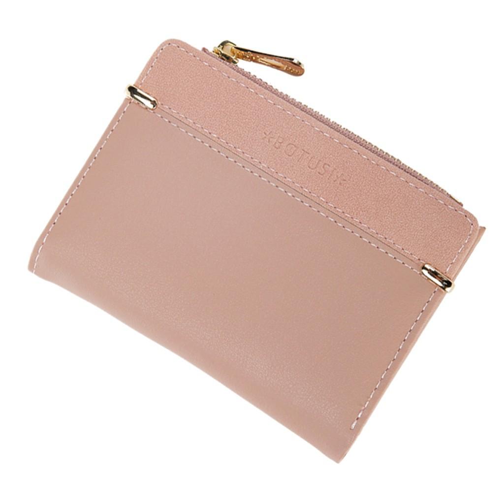Brown ladies wallet Coin purse clutch,short multi-card card holder