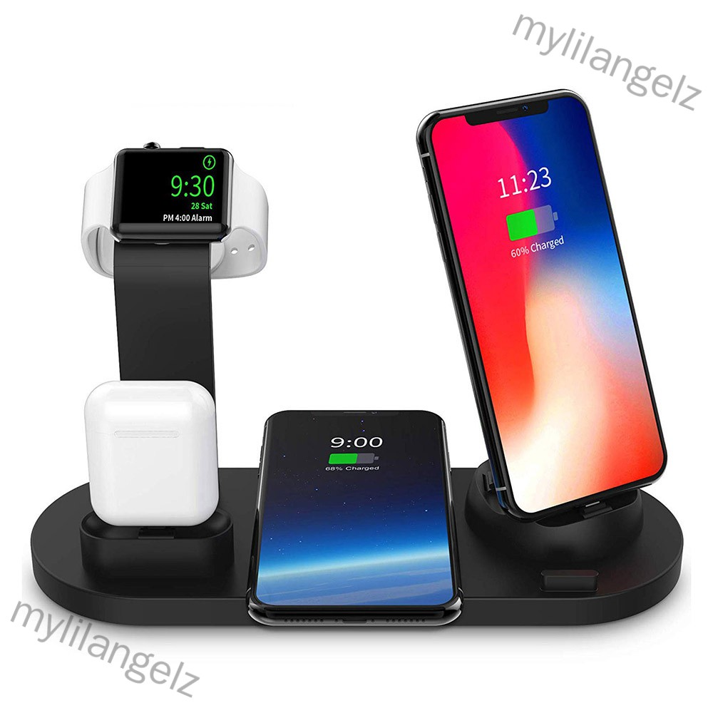 Mylilangelz 3 in 1 QI Wireless Charger Charging Dock for iphone X XS MAX XR 8 Plus USB 10W Fast Charging Stand for Apple
