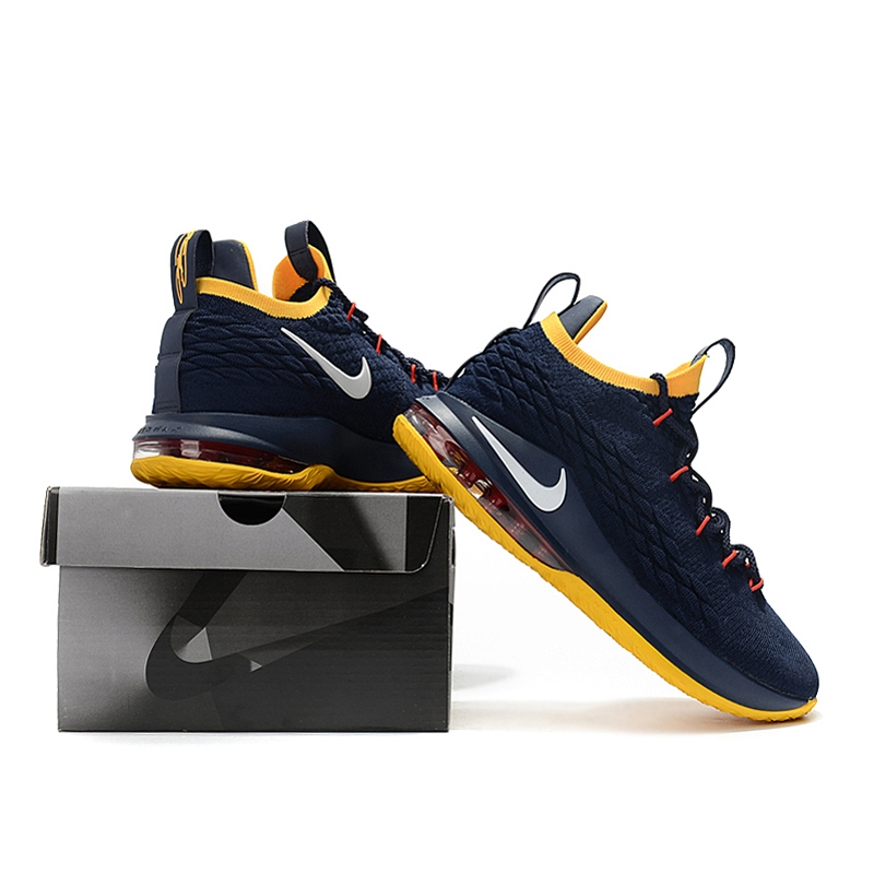 new concept 6d831 abb4e Nike Zoom Lebron James 15 Scale Navy/Yellow Low Air Basketball Shoes