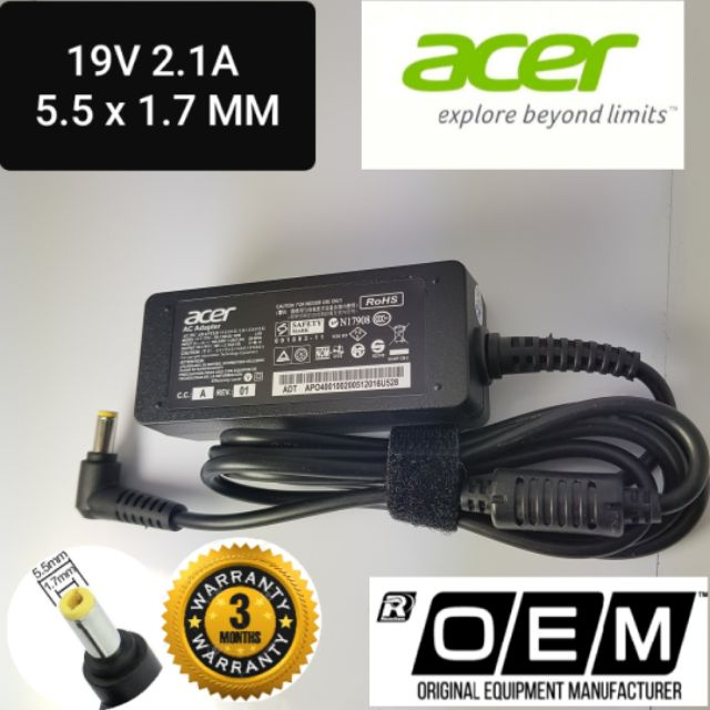 Acer Charger Laptop Adapter 19V 2 1A Tip Size 5 5*1 7MM Standart Socket