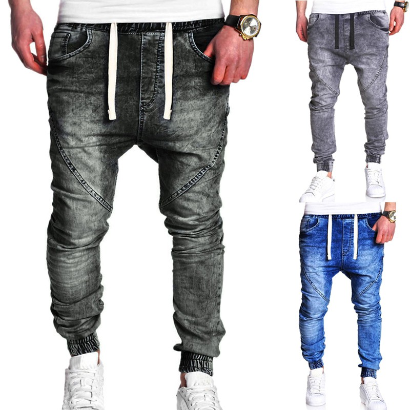 los Angeles d437a a220e Skinny Jeans For Men Gray Street wear Hip Hop Stretch Jeans Hombre Slim Fit