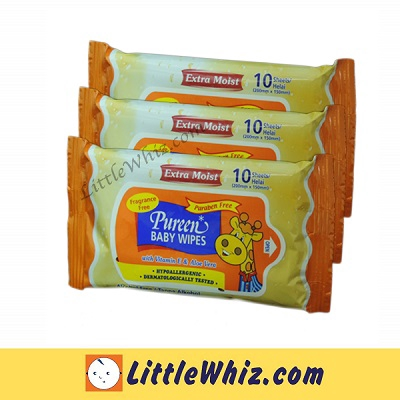 Pureen Baby Wipes 10 Wipes 3 Packs - FRAGRANCE FREE (BEST BUY)