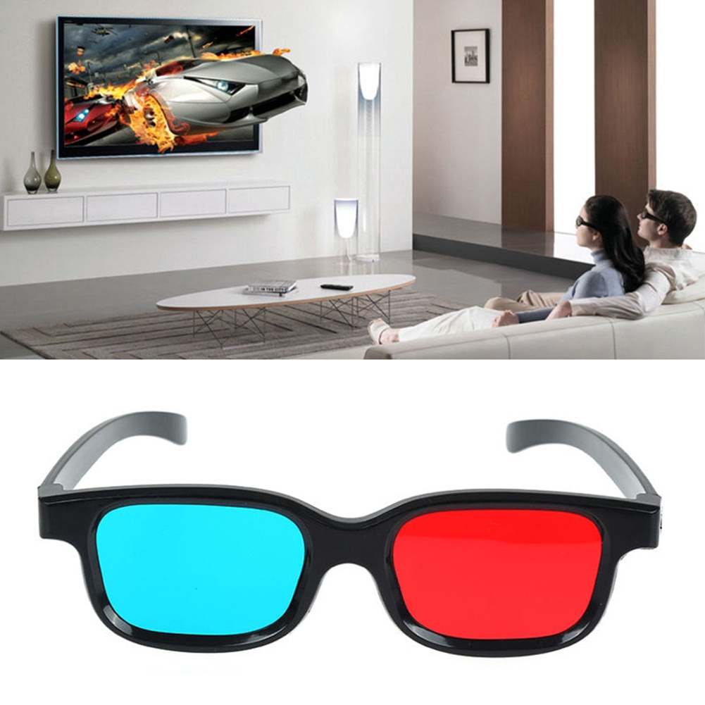New Red Blue 3D Glasses Frame For Dimensional Anaglyph Movie Game DVD M2E2