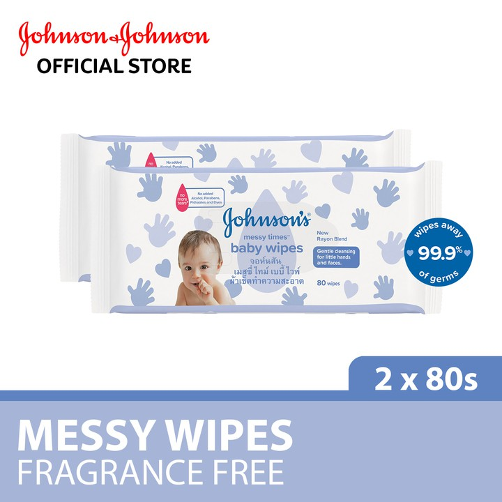 Johnson's Baby Messy Wipes Fragrance Free Wipes (80's x 2 Packs)