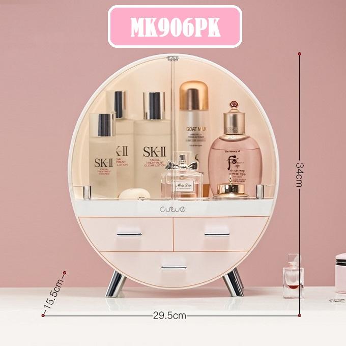 [ READY STOCK ]  Flip 3 drawer dresser round makeup storage box lipstick jewelry combination dustproof desktop