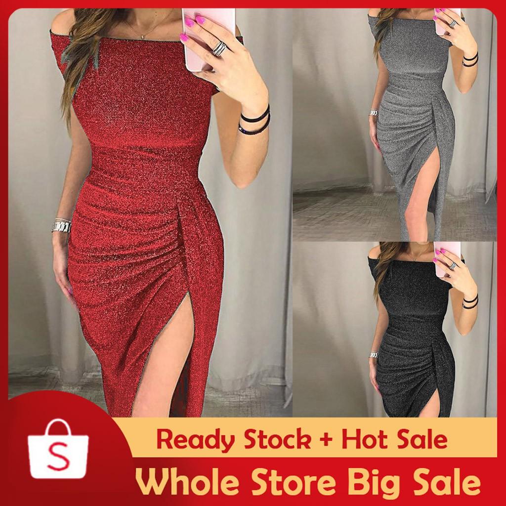 25d3fcd0e8b5f ❗Hot Sale❗ Women Off Shoulder High Slit Bodycon Dress Short Sleeve Dresses