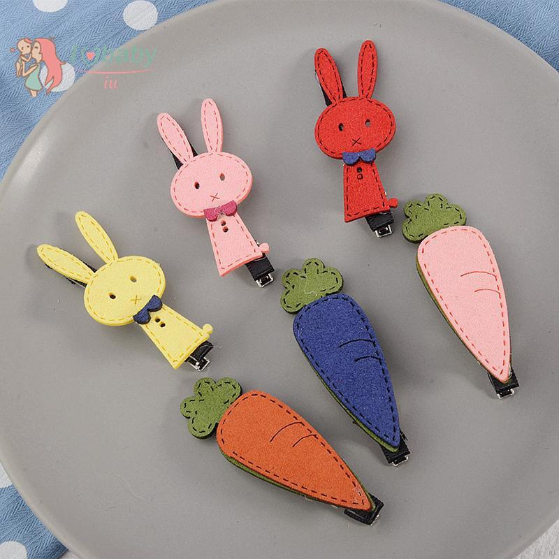 Cute Baby Girl Crown Princess Hair Clips Rabbit Ears Carrot Headband Hairpin
