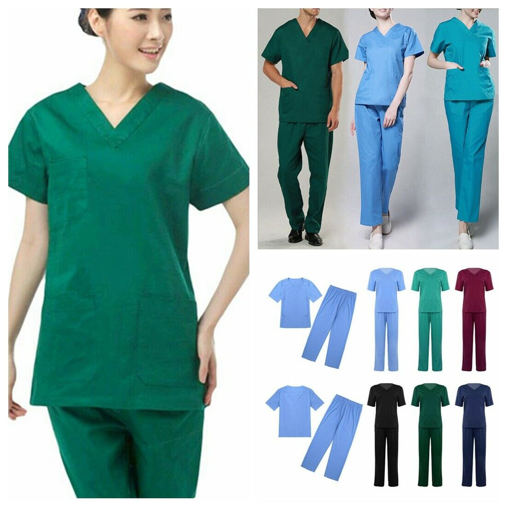 1 pcs Men Women Medical Hospital Nursing Clinic Scrub Unisex Tops