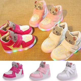 2478ce1b1 new kids LED light up shoes girls skate shoes hello kitty luminous shoes  pink | Shopee Malaysia