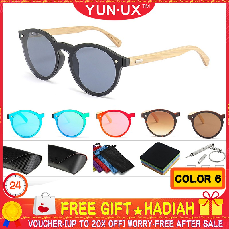 🎁 YUN UX™ Classic Bamboo Feet Sunglasses Round Color Film Bamboo Wood  Glasses