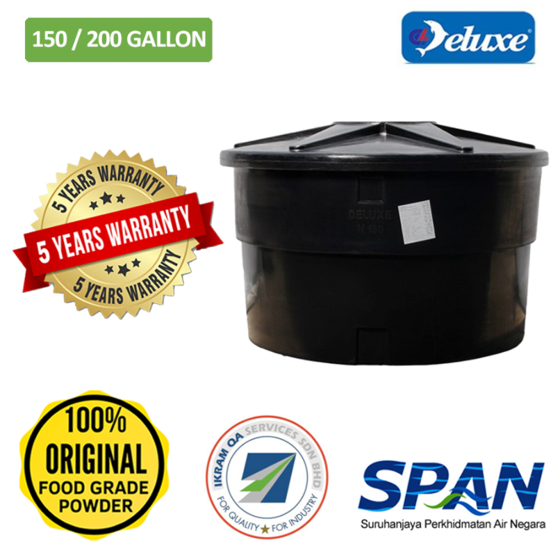 Deluxe Polyethylene PeTank Round Type Water Tank (70/100-200/250)Gallons Tangki Air Polietilena (Warranty Up To 5 Years)