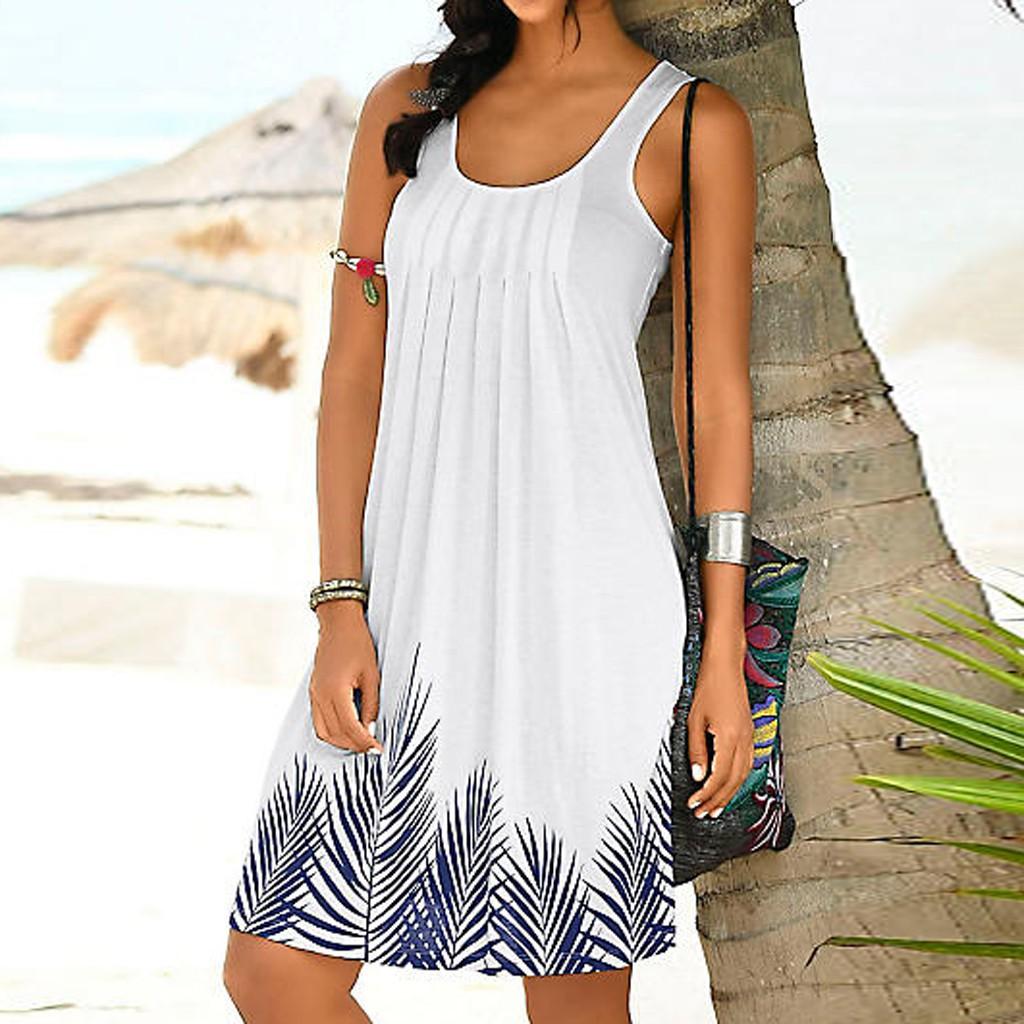 09a4798534 [smartime]Womens Sleeveless Print Fashion Dress Ladies Holiday Mini Dress