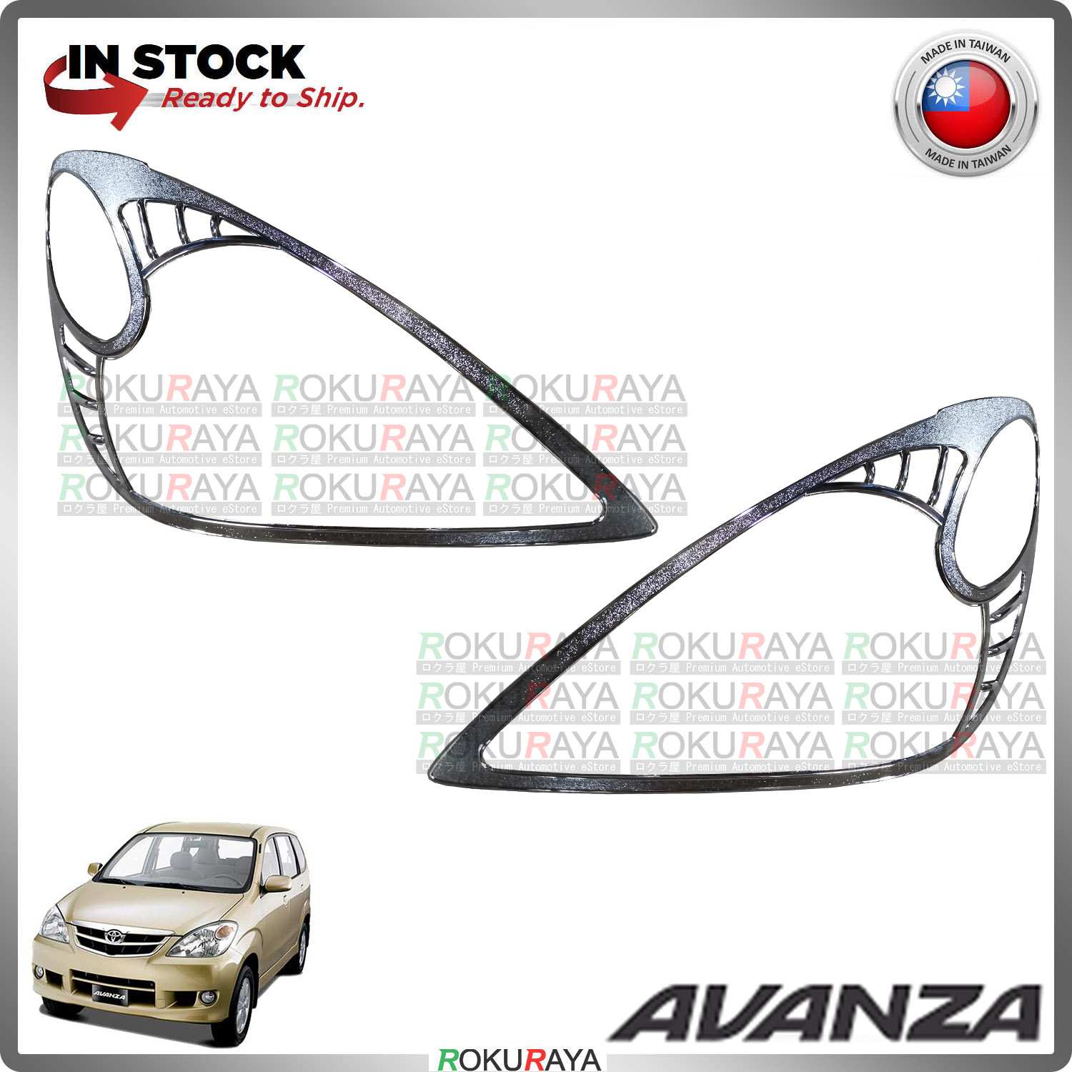 [CHROME] Toyota Avanza Old 2003-2011 ABS Plastic Front Head Lamp Garnish Moulding Cover Trim Car Accessories Parts