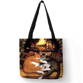 Oil Painting Cat Print Women Tote Bags Linen Reusable Shopping Bag Sac A Main