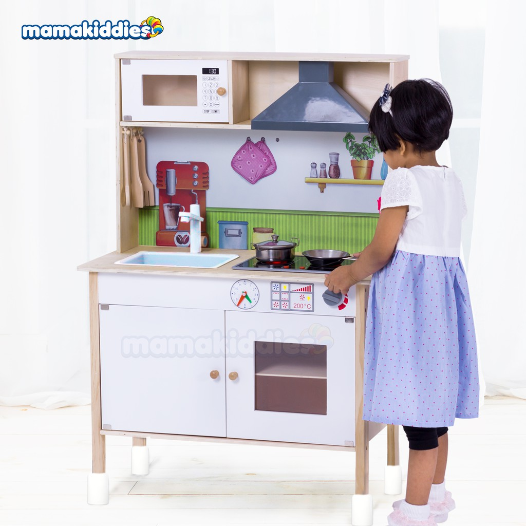 Ikea Style Design Large Pretend Play Wooden Kitchen Playset Toy