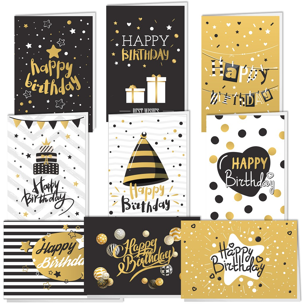 18 Pcs Happy Birthday Cards Gold And Black Birthday Greeting Cards With 18 Envelopes For Men Women Shopee Malaysia