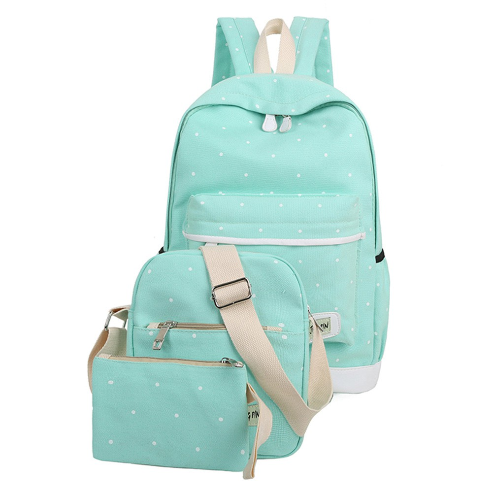pretty cool low cost get new ✿Fancy Dream✿Fresh Canvas Backpack Big Girl Student Book Bag With Purse  Laptop 3pcs Set Bags