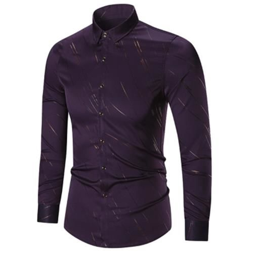 BUTTON UP LONG SLEEVE PRINTED SHIRT (PURPLE)
