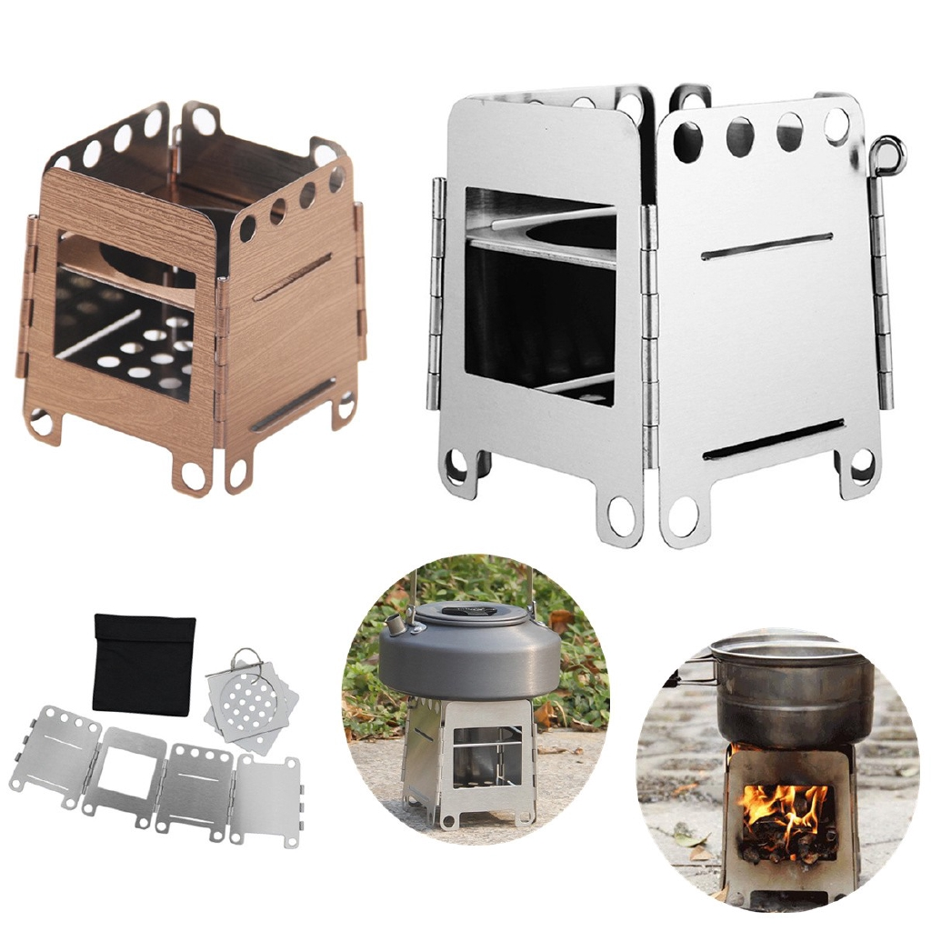Outdoor Wood Stove Mini Portable BBQ Grill Survival Camping