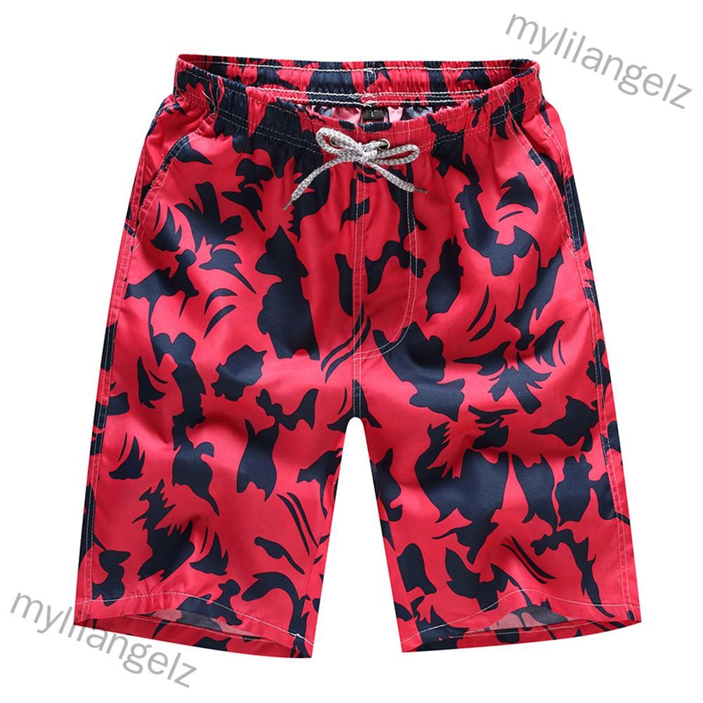 Mylilangelz Men Summer Casual Drawstring Seaside Surfing Printing Quick Dry Shorts