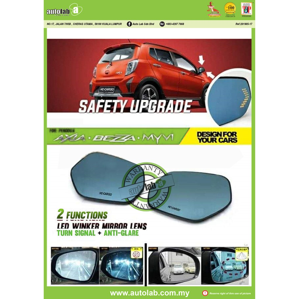 Side Mirror Lens with LED Indicator - Perodua Axia / Bezza / Myvi 2011-2017