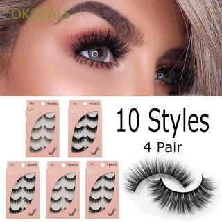 9749c166a55 4 Pairs Handmade Beauty Makeup Natural Wispy Fluffy Soft Hair False  Eyelashes