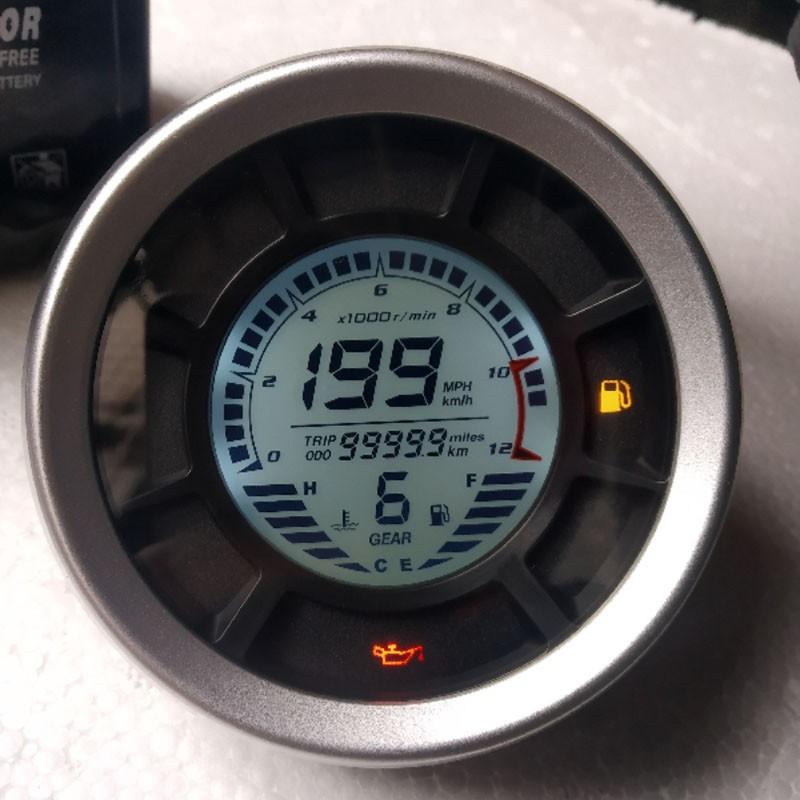 12000RPM KMH MPH LCD Digital Odometer Motorcycle Speedometer Tachometer...