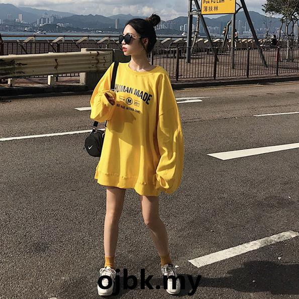 Autumn retro letter print loose ulzzang pullover jacket student long  section sweater female tide Korean version bf