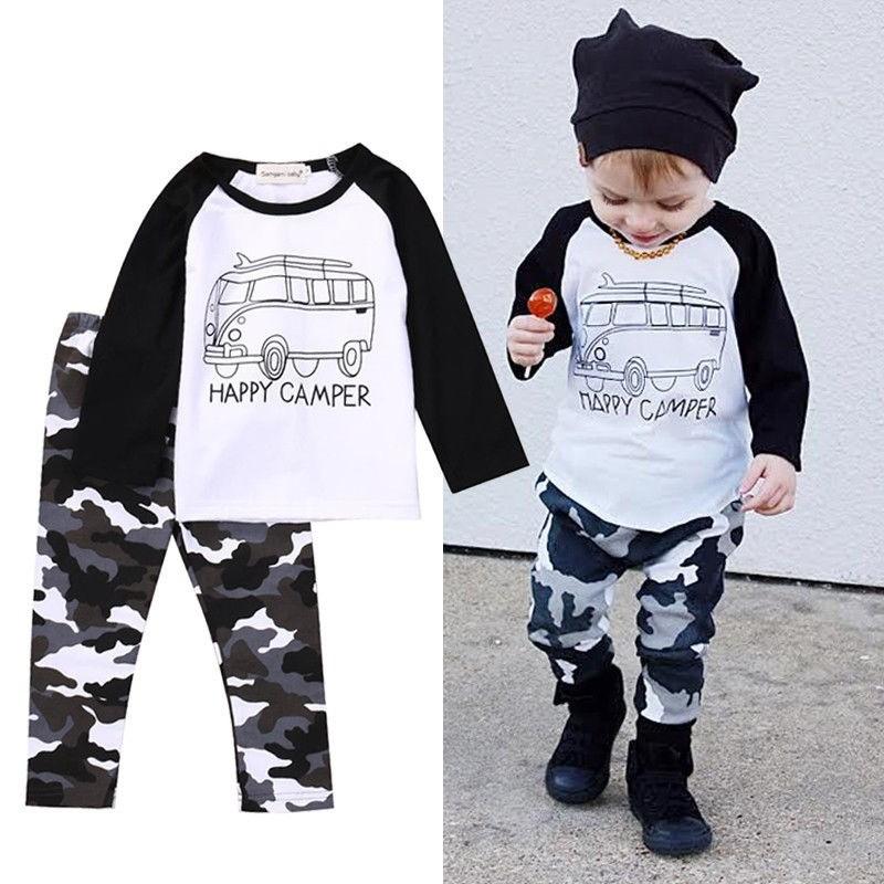 2PCS Toddler Newborn Kid Baby Boy Camo Set Cotton T-shirt Pant Outfit Clothes UK