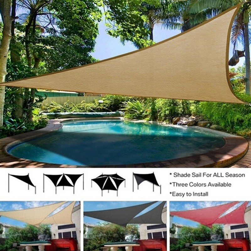 Home & Garden Shade Sails & Nets Trilateral Shade Sail Cloth Shadecloth Outdoor Swimming Pool Waterproof Sun Prevent Uv Canopy Home Garden Awning Cover Cap Net
