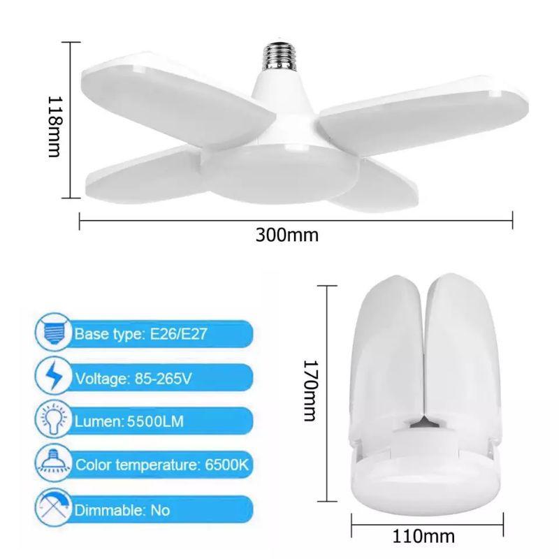 [ READY STOCK ]  60W Foldable LED Fan Blade Ceiling Lamp No Flicker E27 LED Bulb 85-265v 360 Degrees Angle Light