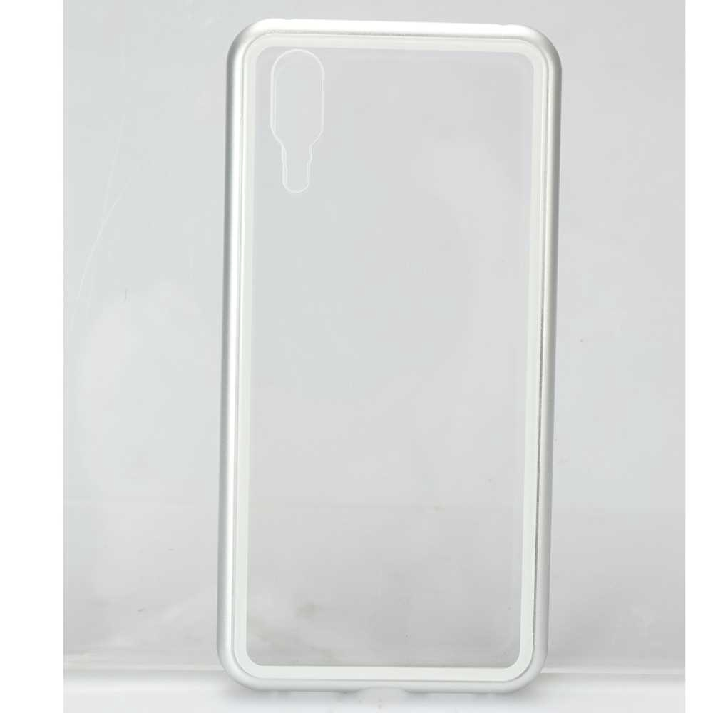 Metal-rimmed Mobile Phone Case Hardened Glass Magnetic Adsorption Protection Smartphone Cover Bumper Luxury Aluminum Fr