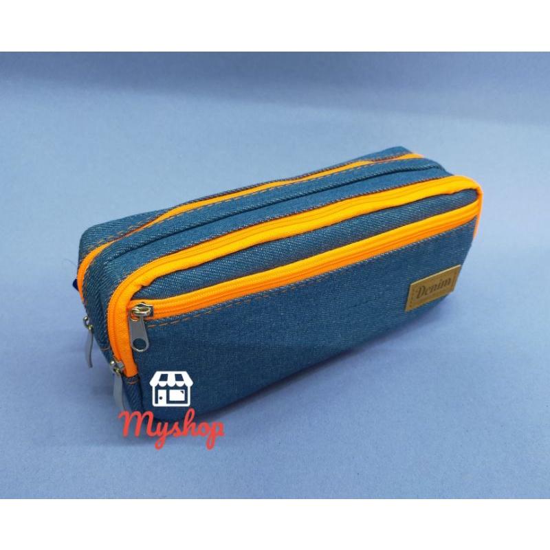 Dolphin  Cotton 3 Layer Colour Zip Pencil Bag DOL-DEN804