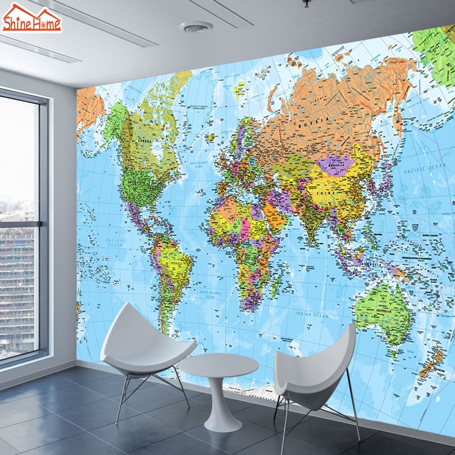 World Map 8d Photo Wallpaper 3d Mural Wallpapers For Living Room