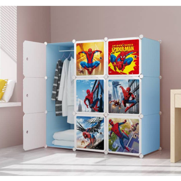 MALAYSIA: NEW SPIDERMAN Blue 9 cube DIY Multipurpose Portable Wardrobe Cabinet Clothes Storage Organizer Almar