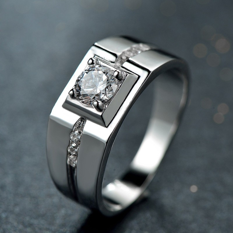Men Sterling Silver 925 Diamond Rings Male Platinum Plated Wedding Band Ring Shopee Malaysia