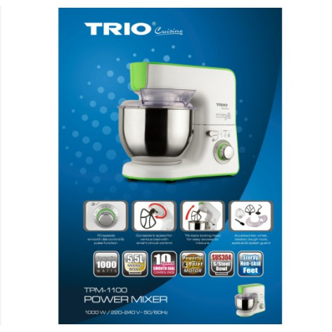 TRIO 1000W 5.5L POWER STAND MIXER With Stainless Steel Bowl TPM-1100 TPM1100