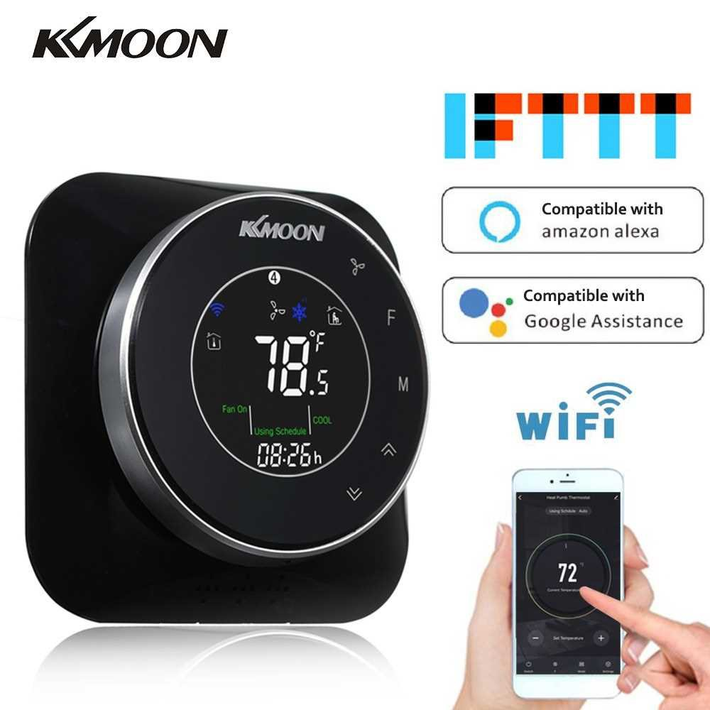 KKmoon WiFi Programmable Heating/Cooling Termostat AC/DC 24V Temperature Regulator with WiFi Connection Touchscreen LCD