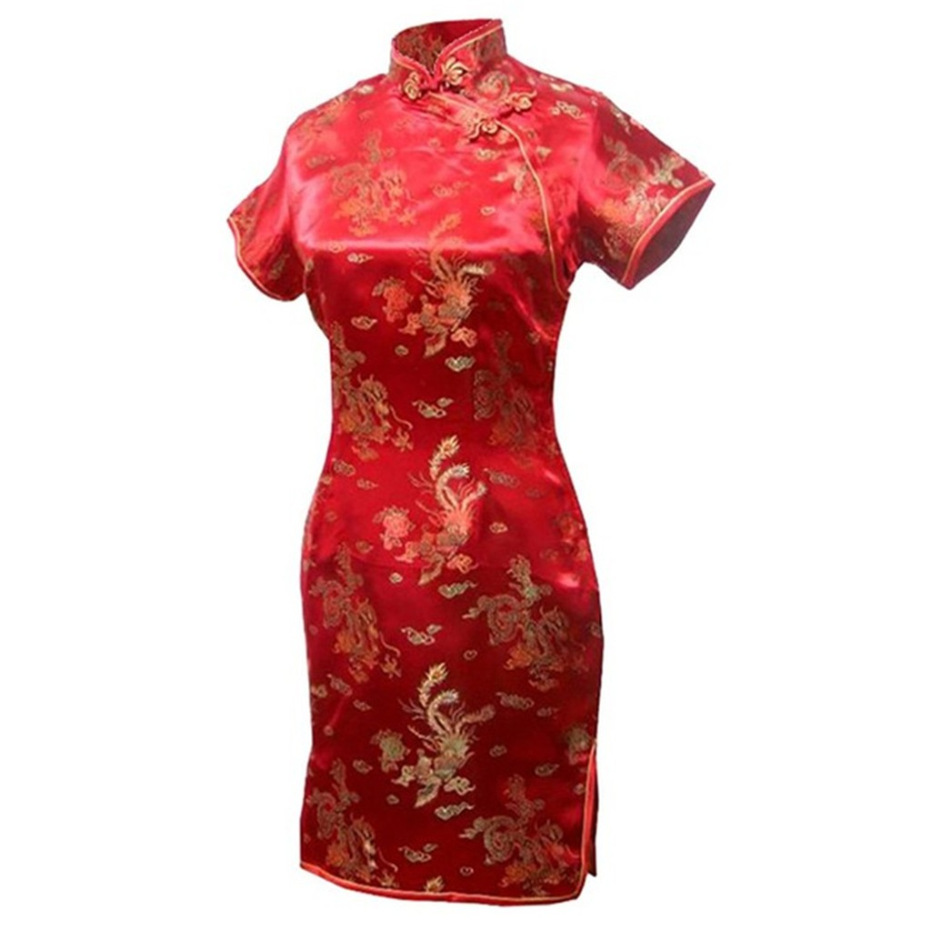 Shanghai Story Womens Short Cheongsam Qipao Traditional Chinese Dress Plus  Size short sleeve Phoenix Dragon Cheongsam