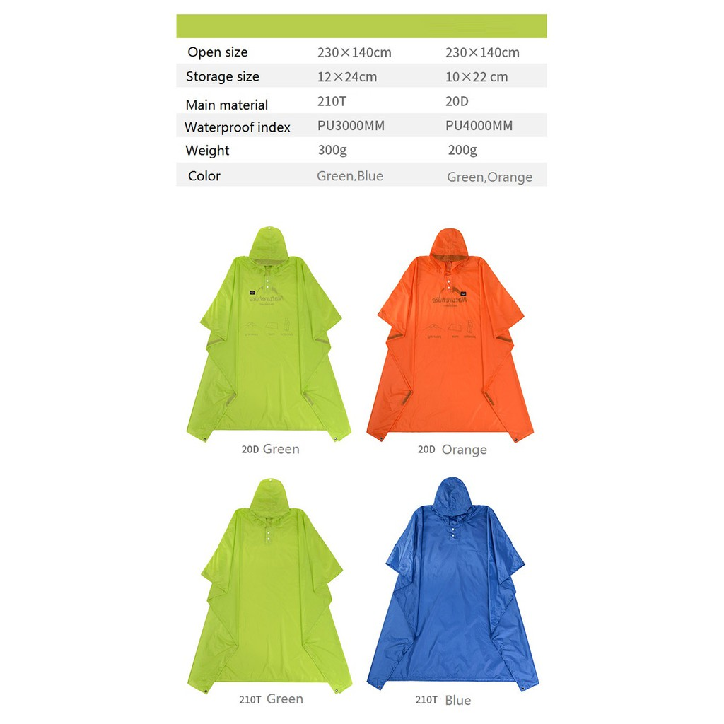 Naturehike Poncho Raincoat Outdoor Awning Camping Tarp Sun Shelter 20D and  210T