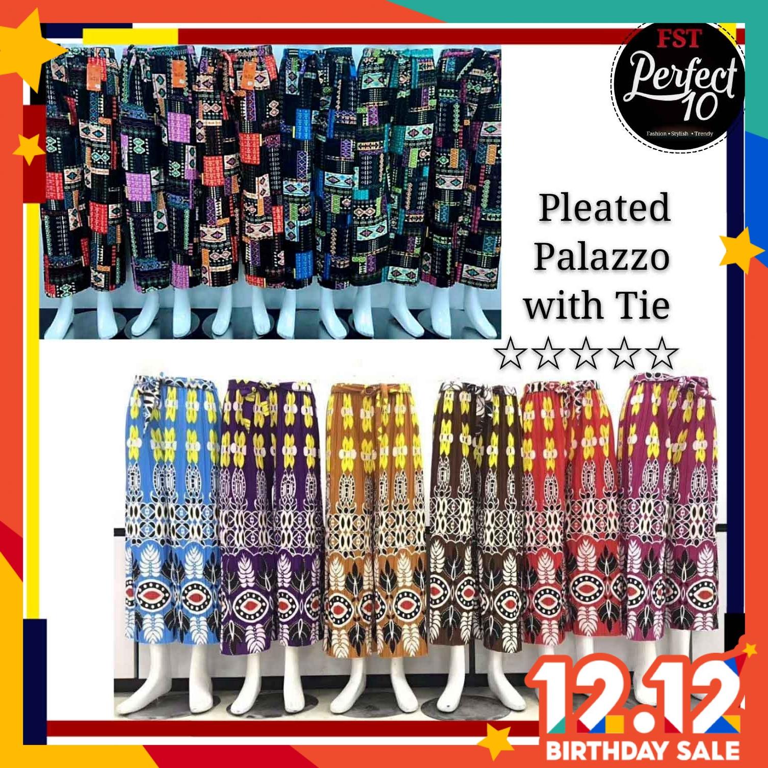FST Pleated With Tie Palazzo Fashion Women Seluar Palazo Bertali Long Trouser Loose Cut Palazzo Pants [900S]