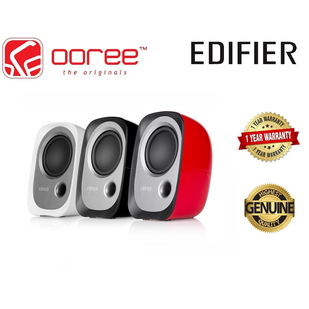 EDIFIER R12U USB POWERED COMPUTER STEREO BOOKSHELF ACTIVE SPEAKER WITH  VOLUME CONTROL 3 5MM AUX INPUT