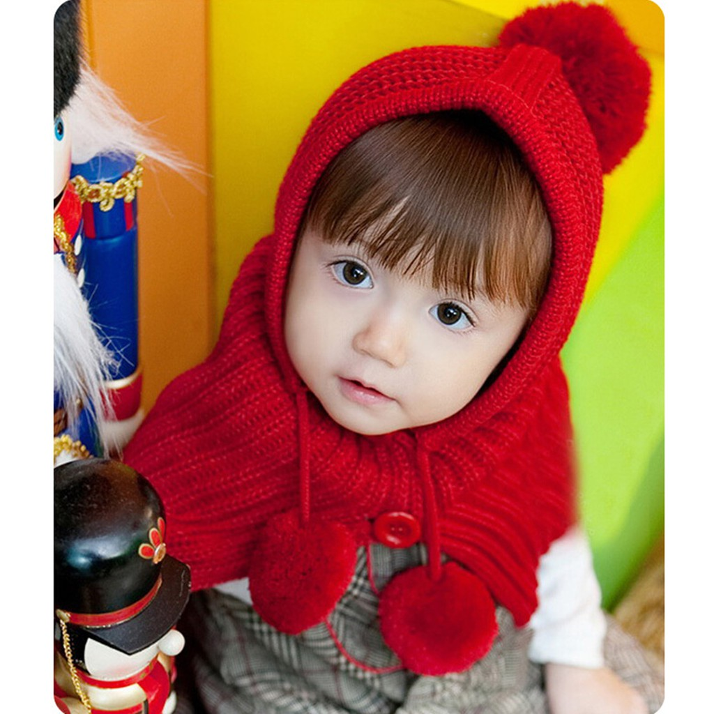 9df37737729 ProductImage. ProductImage. Fashion Winter Baby Girls Boys Cute Dual Ball  Knited Woolen Yarn Earflap Red Hat