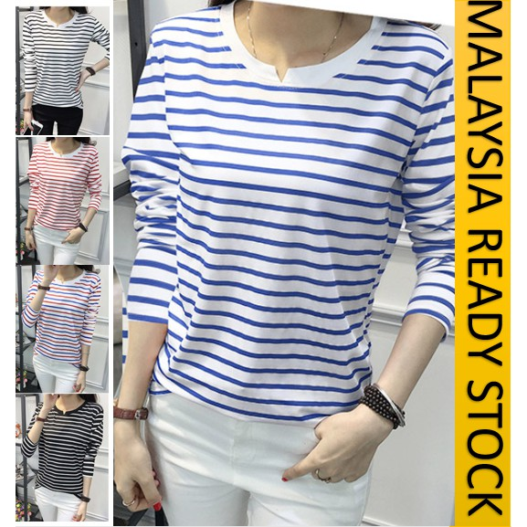 READY STOCK] BAJU T SHIRT WANITA SAIZ BESAR/ PLUS SIZE WOMEN LONG SLEEVES STRIPED T SHIRT