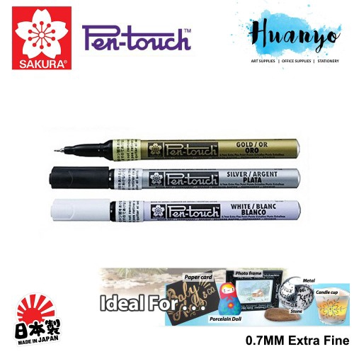 Sakura Pen-Touch Paint Marker SILVER EXTRA FINE point 0.7mm x 12 pcs in a box