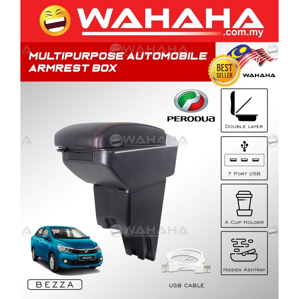 PERODUA BEZZA 7 USB Port Double Layer Adjustable PVC Red Stitching Armrest