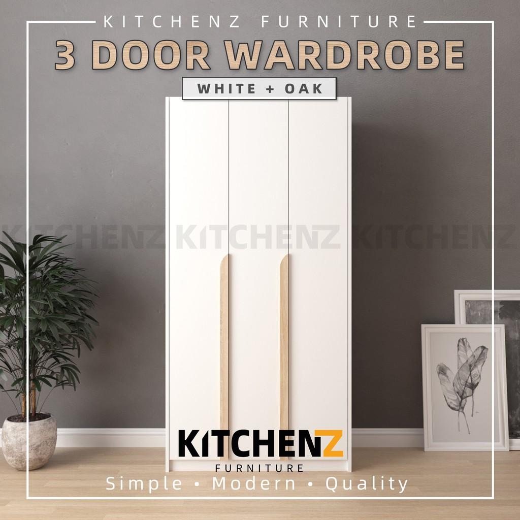 KitchenZ Simona Series 3FT 3 Door Wardrobe / Almari Baju / Almari Pakaian / White / Grey - HMZ-FN-WD-S3013 / S4013