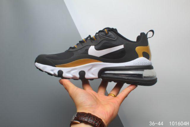 Nike Air Max 270 React Running Sports Shoes Premium BlackGold 36-44 EURO