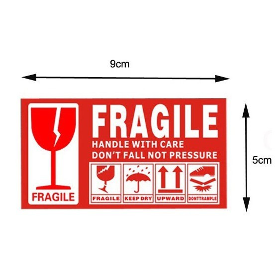 Fragile Sticker - 防暴贴纸/易碎警示 - Warning Label - 9 X 5 CM / 13 X 7 CM - Ready Stock In Malaysia !