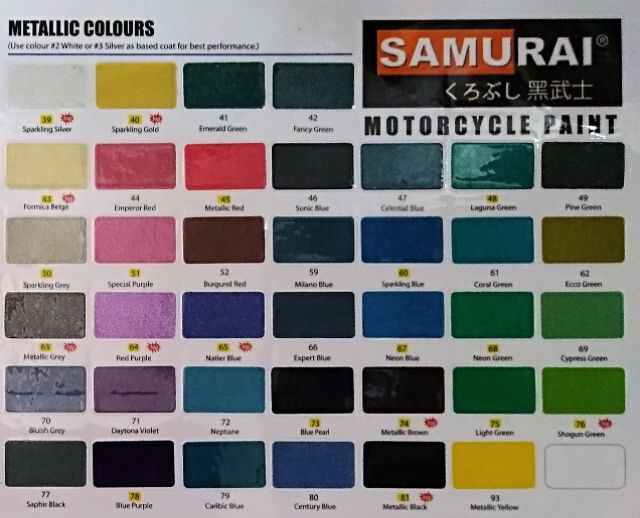 Samurai Spray Paint Metallic Colour